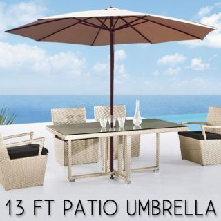 Wooden BEIGE Outdoor Patio Umbrella Wood Deck Gazebo Sun Shade Cover
