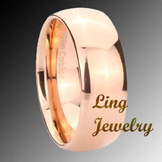 8mm tungsten rose gold ep dome men s ring sz