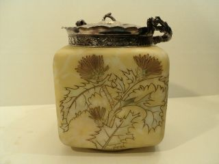 FABULOUS MT. WASHINGTON CROWN MILANO ART GLASS CRACKER JAR / BISCUIT