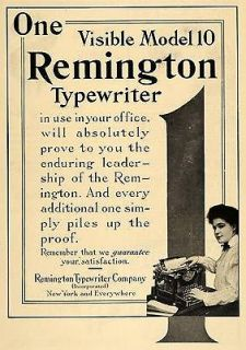 Remington Model 10 Typewriter Lady Typer Office Keyboard Print Letters