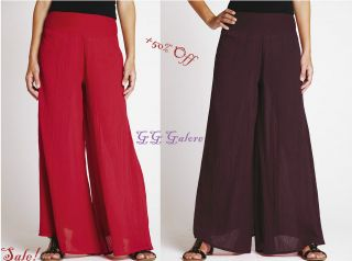 SOUTH RED/AUBERGINE CRINKLE PALAZZO PANTS/TROUSERS SIZES 12,14,16,18