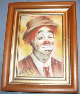 PENSIVE CLOWN PAINTING ON BOARD SIGNED BY ARTIST APROX 5x 7 WOOD
