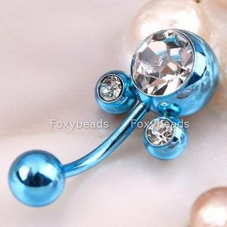 1x blue mickey mouse belly button ring navel jewel 16g