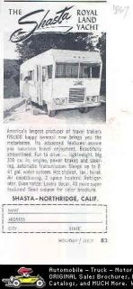 1967 shasta royal land yacht motorhome rv ad time left