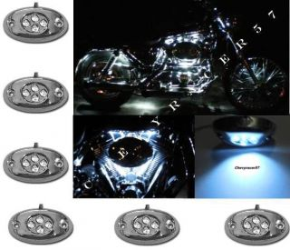 6PC WHITE LED CHROME MODULES MOTORCYCLE CHOPPER FRAME NEON GLOW LIGHTS