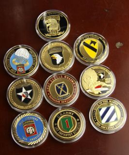 lot of 10 u s army military challenge coins s531