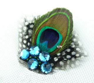blue peacock feather wedding bridal bridesmaids fascinator hair clip