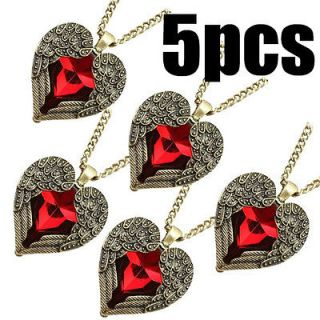 lots New Elegant Nice Red gem Heart necklace Angel wing Pendants