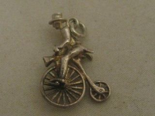 VINTAGE c1960 SILVER CYCLIST RIDING PENNY FARTHING BICYCLE BIKE CHARM
