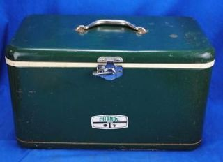 Vintage small Metal 1950s Hunter Green Thermos Cooler Ice Chest 19