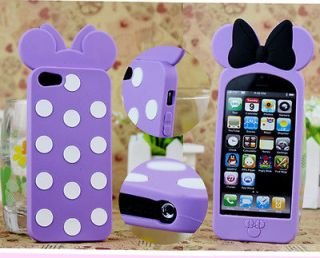 PurpleNew 3D Disney Minnie Mickey Mouse Bow Dot Silicone Case Cover