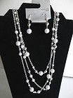 NWT Faux Pearl Multi Strand Silver Tone Beaded Necklace & Earring Set