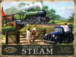 Steam Train, LNER Flying Scotsman Railway Engine Golden age Small