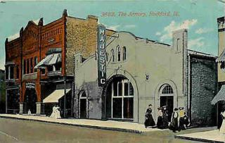 Rockford Illinois IL 1913 Armory & Majestic Theater Vintage Postcard