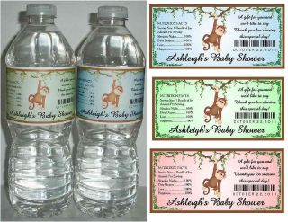 20 MONKEY BABY SHOWER FAVORS WATER BOTTLE LABELS ~ Glossy ~ Waterproof