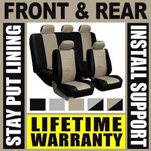 TAN & BLACK DELUXE SYN LEATHER FULL CAR SEAT COVERS SET Waterproof SUV