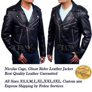 Film Ghost Rider Leather Jacket Nicolas Cage Men Motorbike A+ leather