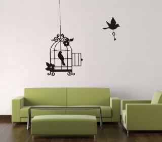hanging bird cage wall art sticker vinyl deco gc034 more