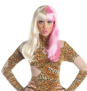 Womens Pink And Blonde Two Tone Nicki Minaj Wig Costume Accessory