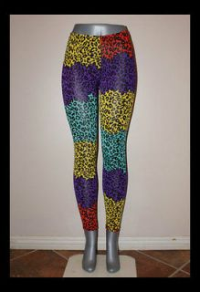 CELEBRITY LEGGINGS PANTS STRETCH NEON NICKI MINAJ STYLE ART MEDIUM M