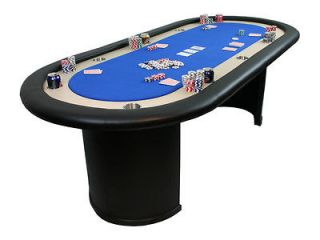 96 wood pedestal 10 player poker table black or green