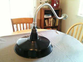 Vintage Industrial Black Porcelain Enamel Barn Gas Station Light Lamp