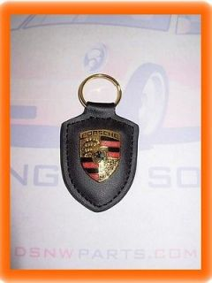 Porsche Key Fob Black Leather, Metal Crest Key Chain Keyring