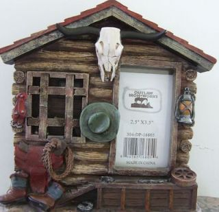 Western Picture Frame With Cowboy Hat Saddle Rope, Boots Longhorn