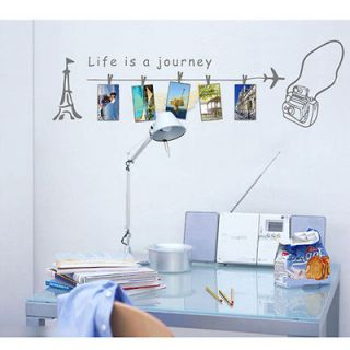 New Fashion Life Is A Journey Grey DIY Wall PVC Art Stickers Home
