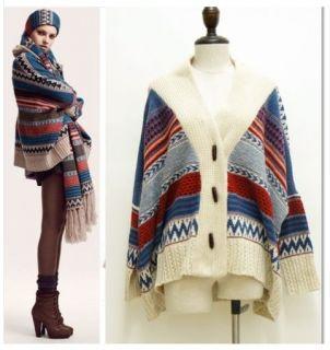 Tribal Oversized Knit Bat Sleeve Sweater Coat Knitwear Cardigan