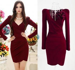 Fashion Womens Lady Sexy V neck Fold Slim Evening Cocktail Mini Dress