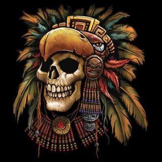 Aztec Nation Native Headdress Skull Profile Black T Shirt