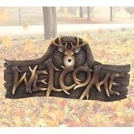 Sign  Hunters Welcome with Deer (buck) head, Indoor/Outdoor welcome