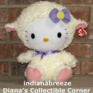 HELLO KITTY LAMB ~ Large 13 Plush Cat ~ 2012 Easter ~ Ty Beanie Baby