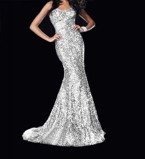 Stunning Strapless Sequins Bridal Wedding Prom Evening Gown Dress