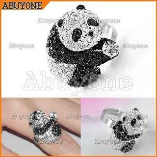 Lovely Cute Bling Full Crystal Rhinestone Panda Ring Adjustable