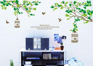 SUPER Lovers Tree&Birdcage Birds Wall Stickers Sticker Decor Decals