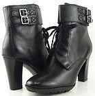 FRANCO SARTO SPIRIT Black Vintage Womens Designer Shoes Lace Up Boots