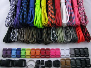 Made in USA 550 Type III Paracord Survival Bracelet Kit 250 Ft 25