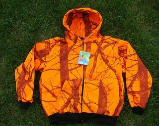 Blaze Orange Camo Zippered Hooded Sweatshirt Deer Hunting Camo