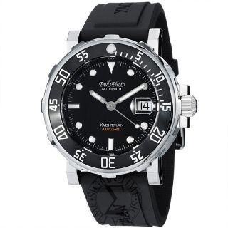 Paul Picot Mens Yachtman Black Dial Black Rubber Strap Watch P1051N.SG