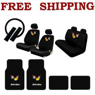 Set Angry Birds Car Seat Covers Steering Wheel Cover & Floor Mats