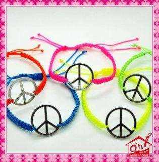 Peace Sign Symbol Woven Friendship Hippy Bracelet Neon Colour Cord UK