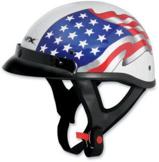 AFX MEDIUM BEANIE MOTORCYCLE HELMET FX 70 FREEDOM AMERICAN FLAG WHITE