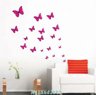 Rose Red butterfly Removable Wall Vinyl Decal Art DIY Home Wall