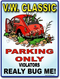 VW Classic Parking Sign   V.W. Beetle Volkswagon Bug Classic Hippie