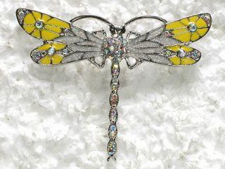 clear ab rhinestone crystal dragonfly pin brooch c665 time left