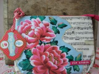 pip studio pencilcase make up bag flower blue etui pink