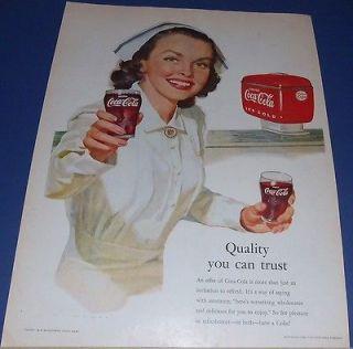 1952 COKE Coca Cola Ad ~ NURSE offers a fountain dispenser glass