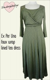 Ex Per Una silky jersey lined faux wrap knee length three quarter